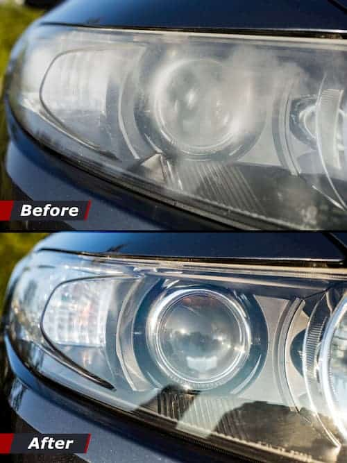 Before and after clean oxidized headlights