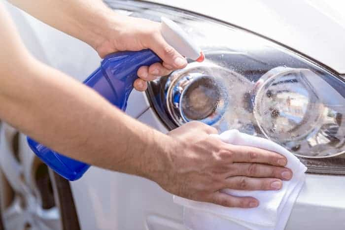 first step to clean headlight with wd-40